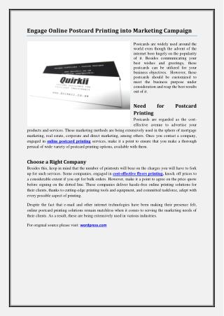 Engage Online Postcard Printing into Marketing Campaign