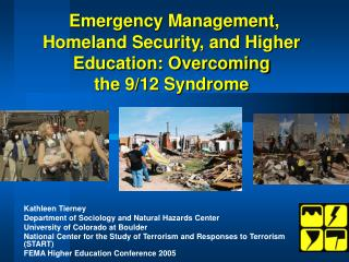 Emergency Management, Homeland Security, and Higher Education: Overcoming  the 9