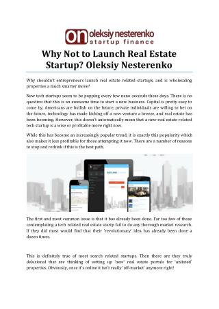 Why Not to Launch Real Estate Startup by Oleksiy Nesterenko
