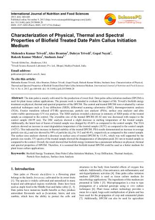 Characterization of Physical, Thermal and Spectral Properties of Biofield Treated Date Palm Callus Initiation Medium