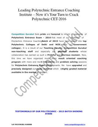 Polytechnic Batches Start - Competition Gurukul