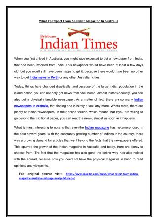 What To Expect From An Indian Magazine In Australia