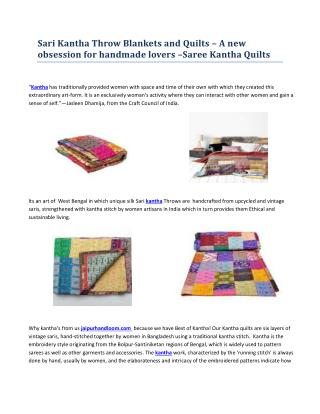 Sari Kantha Throw Blankets and Quilts - JaipurHandloom