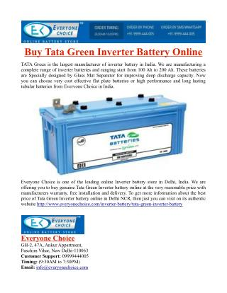 Buy Tata Green Inverter Battery Online
