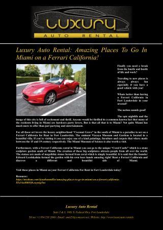 Luxury Auto Rental: Amazing Places To Go In Miami on a Ferrari California!