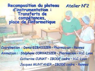 Coordination  : Denis GIBASSIER   Pharmacien - Rennes  Animation :   St phane CORVAISIER   Pharmacien   H.C. Lyon    Cat