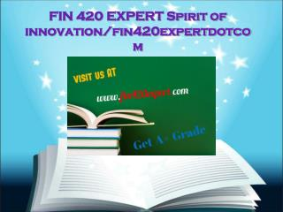 FIN 420 EXPERT Spirit of innovation/fin420expertdotcom