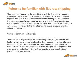 Points to be familiar with flat rate shipping