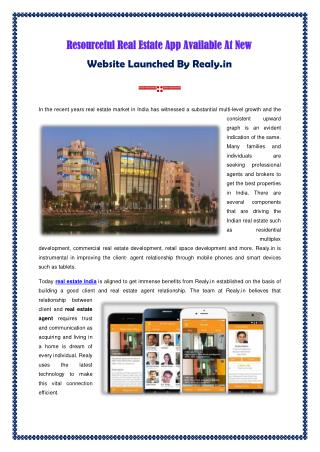 Real Estate App Available At New Website Launched by Realy.in