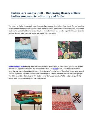 Indian Sari kantha Quilt – Undenying Beauty of Rural Indian Women's Art – History and Pride