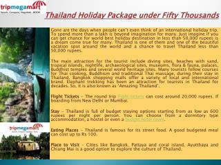 Thailand Holiday Package under Fifty Thousands
