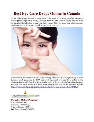 Best Eye Care Drugs Online in Canada