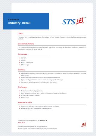 Case Study - Inventory Management System For Retail Giant