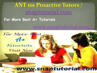 ANT 101 Proactive Tutors /  snaptutorial.com