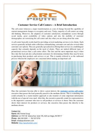 Customer Service Call Centers – A Brief Introduction