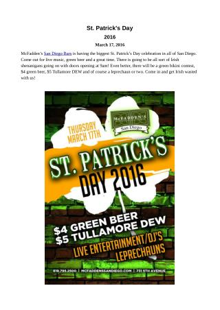 St. Patrick's Day Events in San Diego Bar Downtown