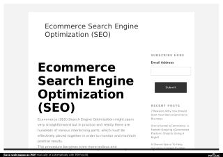 Ecommerce Search Engine Optimization (SEO) | Ecommerce Website Design