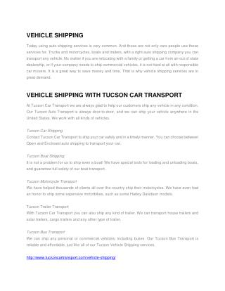 Tucson Vehicle Shipping
