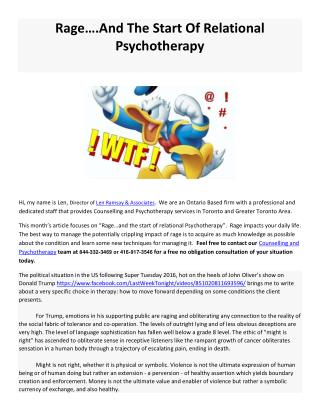 Rage And The Start Of Relational Psychotherapy