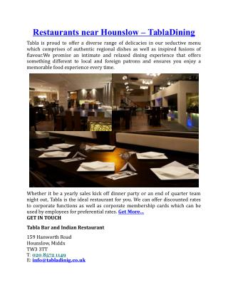 Restaurants Near Hounslow Tabla Dining