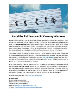Avoid the Risk Involved In Cleaning Windows