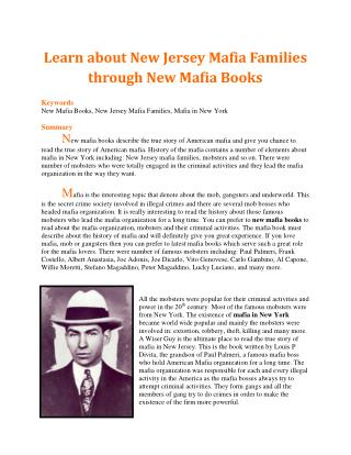 Learn about New Jersey Mafia Families through New Mafia Books