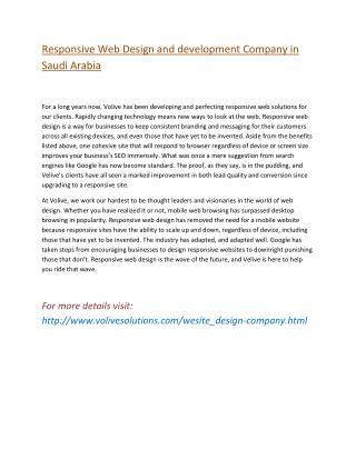 Responsive Web Design and development Company in  Saudi Arabia
