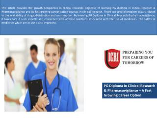 PG Diploma in Clinical Research, Jobs in Pharmacovigilance