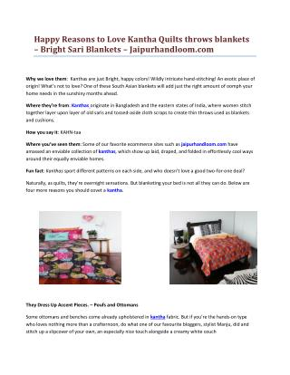 Happy Reasons to Love Kantha Quilts throws blankets – Bright Sari Blankets – Jaipurhandloom.com