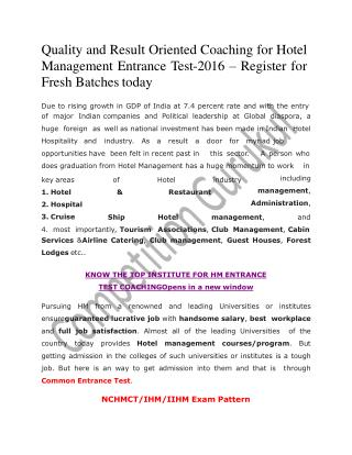 Hotel Management Entrance Exam Coaching 2016 in Uttam Nagar & Janakpuri, Delhi