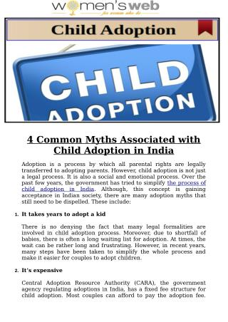 4 Common Myths Associated with Child Adoption in India