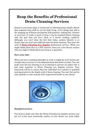 Reap the Benefits of Professional Drain Cleaning Services