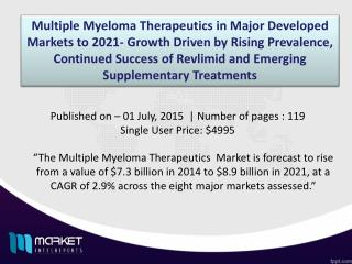 Multiple Myeloma Therapeutics Market to Hit $8.9 Billion USD in Revenues by 2021
