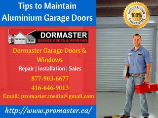 Tips to Maintain Aluminium Garage Doors