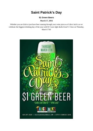 Calico Jacks Glendale Celebrate Saint Patrick's Day