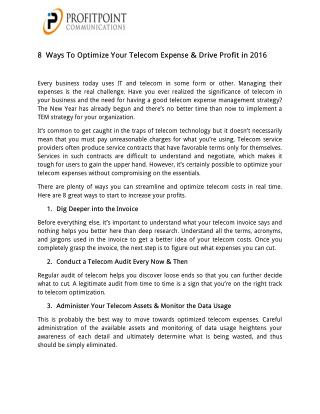 8  Ways To Optimize Your Telecom Expense & Drive Profit in 2016