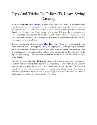 Tips And Tricks To Follow To Learn Swing Dancing