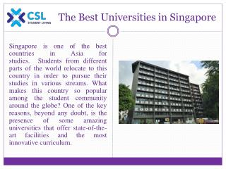 The Best Universities in Singapore