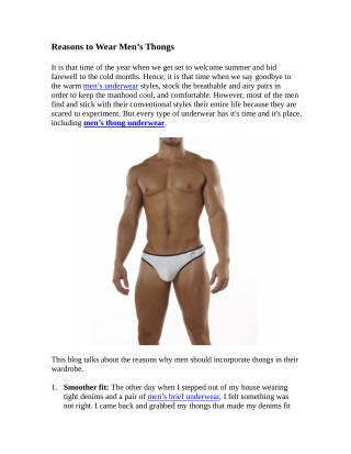 Reasons to Wear Men�s Thongs