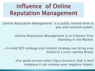 Online Reputation Management services india  advantage