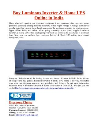 Buy Luminous Inverter And Home UPS Online