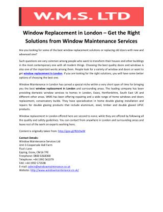 Window Replacement in London – Get the Right Solutions from Window Maintenance Services