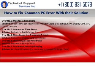 How to troubleshoot Common PC errors Call 1 866-606-8272 Tec