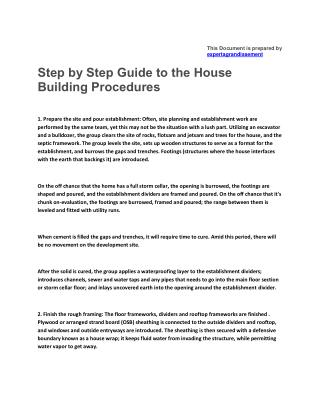 Step by Step Guide to the House Building Procedures