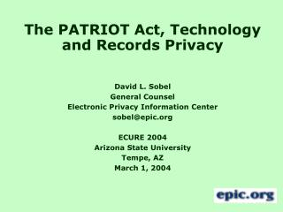 The PATRIOT Act, Technology and Records Privacy