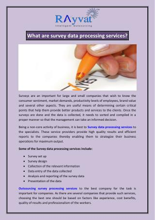 Outsource survey data processing india