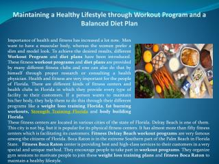 Maintaining a Healthy Lifestyle through Workout Program and a Balanced Diet Plan