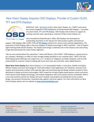 New Vision Display Acquires OSD Displays, Provider of Custom OLED, TFT and STN Displays