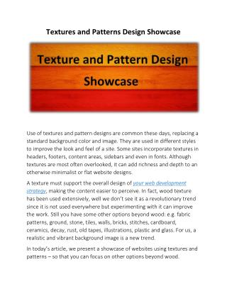Textures and Patterns Design Showcase