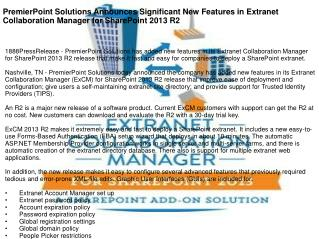 PremierPoint Solutions Announces Significant New Features in Extranet Collaboration Manager for SharePoint 2013 R2